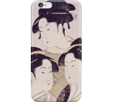 Kitagawa Utamaro - Three Beauties Of The Present Day. Woman portrait: sensual geisha, female style, traditional dress, femine, beautiful dress, headdress,  hairstyle, courtesans, sexy lady iPhone Case/Skin