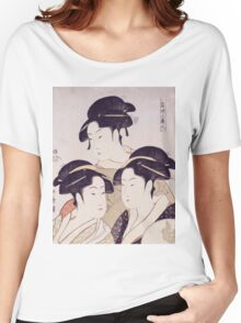 Kitagawa Utamaro - Three Beauties Of The Present Day. Woman portrait: sensual geisha, female style, traditional dress, femine, beautiful dress, headdress,  hairstyle, courtesans, sexy lady Women's Relaxed Fit T-Shirt
