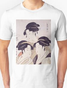 Kitagawa Utamaro - Three Beauties Of The Present Day. Woman portrait: sensual geisha, female style, traditional dress, femine, beautiful dress, headdress,  hairstyle, courtesans, sexy lady Unisex T-Shirt