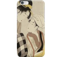 Kitagawa Utamaro - A Half-Length Portrait Of Two Women. Woman portrait: sensual woman, geisha, female style, traditional dress, femine, headdress,  hairstyle, courtesans, sexy lady, samurai iPhone Case/Skin