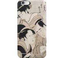 Kitagawa Utamaro - A Triple Portrait Of Ohan Of The Shinanoya, Choemon And His Wife Okinu. People: party, woman and man, geisha , samurai, female and male, crowd, headdress iPhone Case/Skin