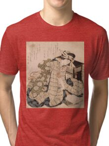 Katsushika Hokusai - Courtesan Asleep. Geisha portrait: Geisha, japanese, courtesan, pretty women, femine, beautiful dress, cute, creativity, love, sexy lady, pose Tri-blend T-Shirt