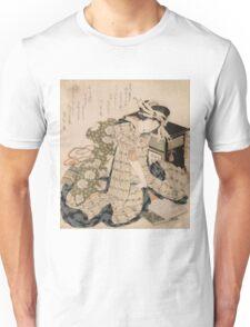 Katsushika Hokusai - Courtesan Asleep. Geisha portrait: Geisha, japanese, courtesan, pretty women, femine, beautiful dress, cute, creativity, love, sexy lady, pose Unisex T-Shirt