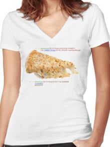 cheese pizza Women's Fitted V-Neck T-Shirt