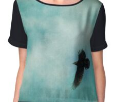 Cloudy spring sky with a soaring raven  Chiffon Top