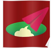 Red Paper Plane Icon Poster