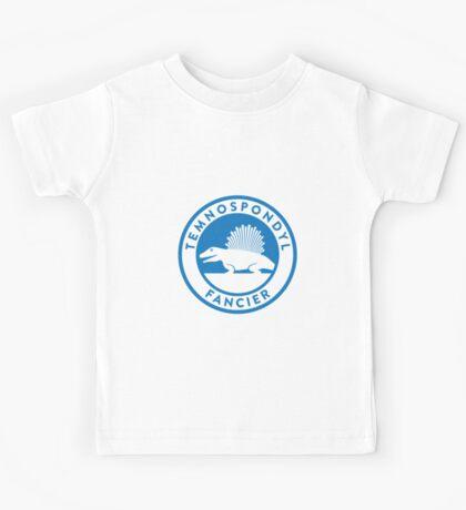 Temnospondyl Fancier Tee (Blue on White) Kids Tee