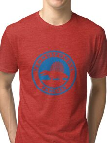 Temnospondyl Fancier Tee (Blue on White) Tri-blend T-Shirt
