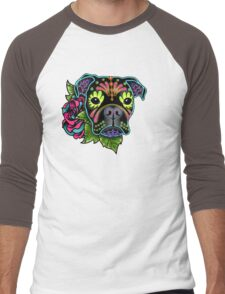 Boxer in Black- Day of the Dead Sugar Skull Dog Men's Baseball ¾ T-Shirt