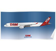 Illustration of TAM Airbus A350 - Blue Version Poster