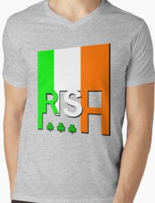 IRISH FLAG, GAEILGE, Ireland. Mens V-Neck T-Shirt