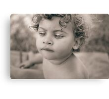 Portrait of cute little girl with bobbed hair Canvas Print