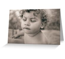 Portrait of cute little girl with bobbed hair Greeting Card