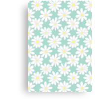 Bright Happy Daisies on Mint Canvas Print