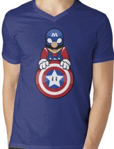 Captain Ah-Mario Mens V-Neck T-Shirt