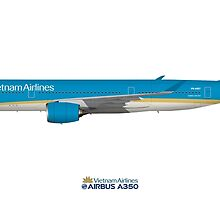 Illustration of Vietnam Airlines Airbus A350 by © Steve H Clark