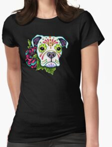 Boxer in White- Day of the Dead Sugar Skull Dog Womens Fitted T-Shirt