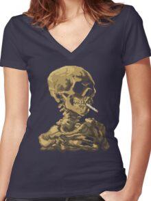 Van Gogh Pixel Art - Skull of a Skeleton with Burning Cigarette Women's Fitted V-Neck T-Shirt