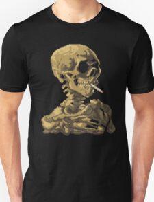 Van Gogh Pixel Art - Skull of a Skeleton with Burning Cigarette Unisex T-Shirt