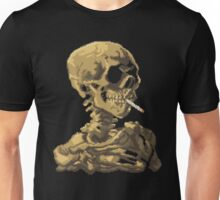 Van Gogh Pixel Art - Skull of a Skeleton with Burning Cigarette Unisex T-Shirt