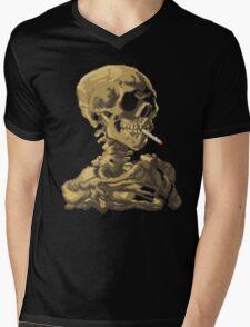 Van Gogh Pixel Art - Skull of a Skeleton with Burning Cigarette Mens V-Neck T-Shirt