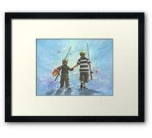 TWO BROTHERS GOING FISHING Framed Print