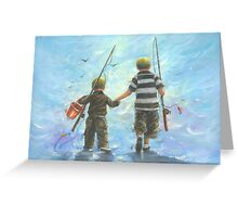 TWO BROTHERS GOING FISHING Greeting Card