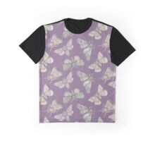 Moth pattern on purple Graphic T-Shirt