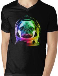 Astronaut Pug Mens V-Neck T-Shirt