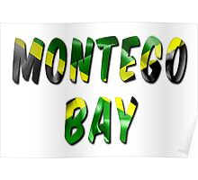 Montego Bay Word With Flag Texture Poster