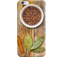 Spices in Pots on a Distressed Wooden Board iPhone Case/Skin