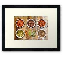 Spices in Pots on a Distressed Wooden Board Framed Print