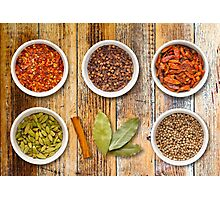 Spices in Pots on a Distressed Wooden Board Photographic Print