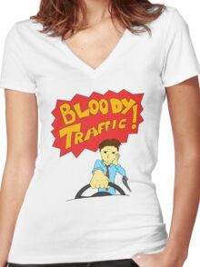 Bloody Traffic! Women's Fitted V-Neck T-Shirt