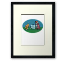 Eeyore loses a tail round Framed Print
