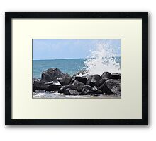 Waves Crashing on the Rocks Framed Print