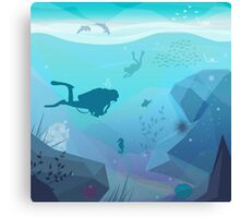Underwater Diving Landscape Canvas Print