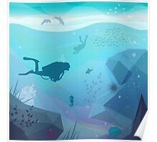 Underwater Diving Landscape Poster