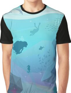 Underwater Diving Landscape Graphic T-Shirt