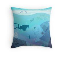 Underwater Diving Landscape Throw Pillow