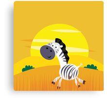 Cute Kids Illustration of Zebra Canvas Print