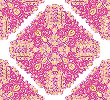 Pink ornamented squares by Patternalized