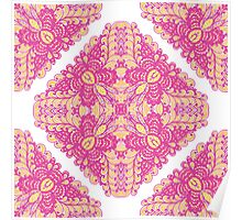 Pink ornamented squares Poster