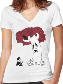 THE VISION GIVING TREE Women's Fitted V-Neck T-Shirt