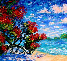 Crimson Bloom Red Flower Tree at the Beach Blue Sky Landscape Oil Painting by Ekaterina Chernova by Ekaterina Chernova