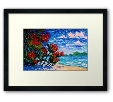 Crimson Bloom Red Flower Tree at the Beach Blue Sky Landscape Oil Painting by Ekaterina Chernova Framed Print