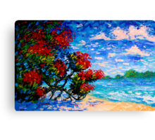 Crimson Bloom Red Flower Tree at the Beach Blue Sky Landscape Oil Painting by Ekaterina Chernova Canvas Print