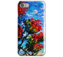 Crimson Bloom Red Flower Tree at the Beach Blue Sky Landscape Oil Painting by Ekaterina Chernova iPhone Case/Skin