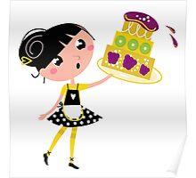 Cute retro girl holding Cake Poster