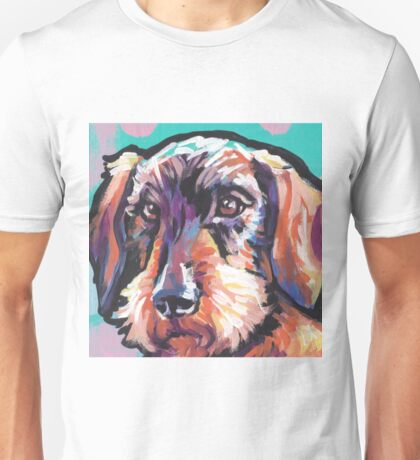 wire haired Dachshund Dog Bright colorful pop dog art Unisex T-Shirt